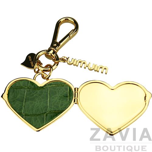 miu miu 配件.綠色牛皮愛心心型鑰匙圈/吊飾