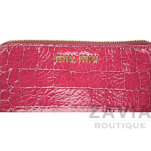 miu miu 深莓紅色鱷魚壓紋萬用拉鍊袋